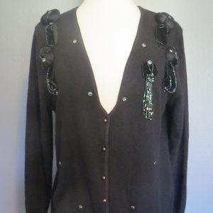 MENDE'S FRANSO V-Neck Beaded Wool Cardigan 44, 6